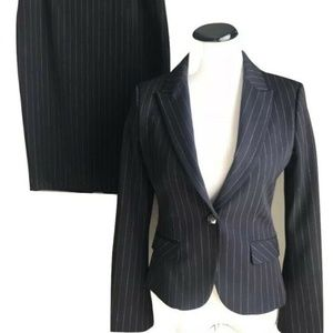 Express 2 pc Stripe Skirt Suit Set Jacket Blazer